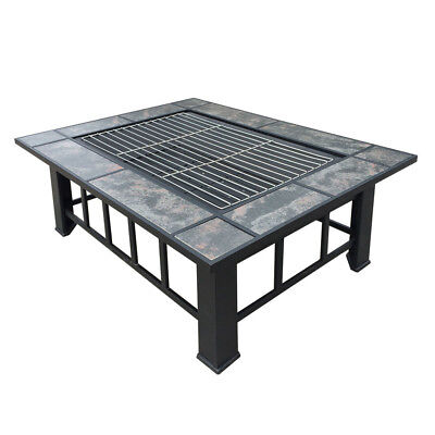 NEW Outdoor Fire Pit BBQ Table Grill Fireplace