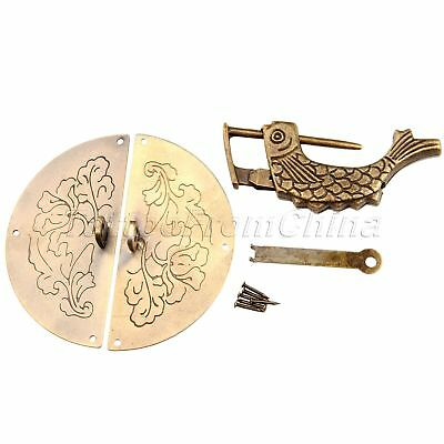 Vintage Chinese Style Pull Handle Hasp Latch & Lock for Cabinet Door Jewelry Box
