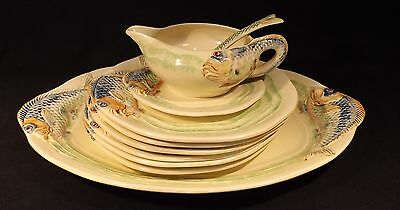 C.1930's 10 Piece Clarice Cliff Embossed Fish Set New Port Pottery England.