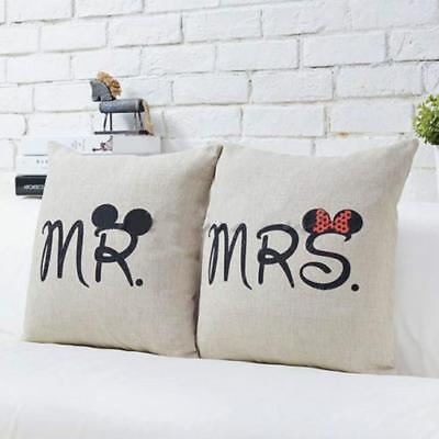 Pillow Waist Cover Mr and Mrs Love Couple Painting Sofa Cushion Home Case FW
