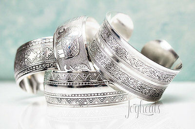 Ethnic Tribal Flower Circles Bracelet Cuff Bangle Tibetan Silver Plated Vintage