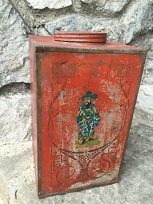 ANTIQUE TOLE tea tin Chinese Japanese Asian rare tolewear