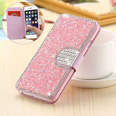 Magnetic Bling Diamond Flip Leather Wallet Card Case Cover For iPhone 7 8 Plus X