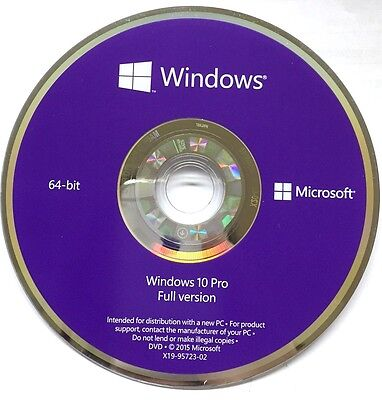 Disco DVD Originale Microsoft Windows 10 PRO 64bit FULL DVD  NUOVO