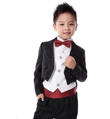 Custom Kid's Party Gradution Suit Black Baby Toddler Page Boys Wedding Tuxedos