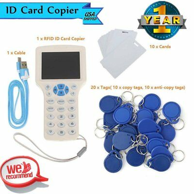 10 Frequency RFID ID IC Card Reader Writer Copier +10 Cards +20 Tags TQ