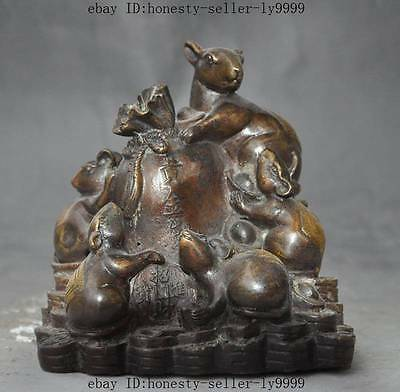 china bronze fengshui lucky wealth yuanbao money coin Five Mouse mice Rat statue