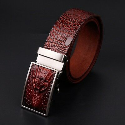 US Casual Men Genuine Leather Belt Automatic Buckle Waistband  Waist Strap