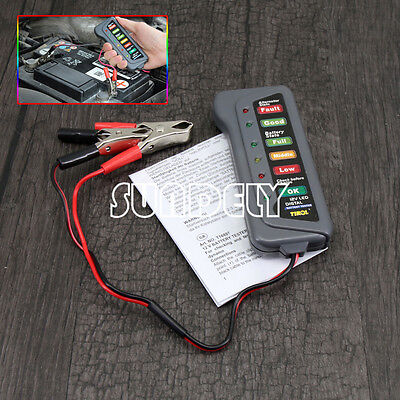 UK Motorbike Auto Car 6LED Battery Tester 12V Battery Charger Analyzer Tester