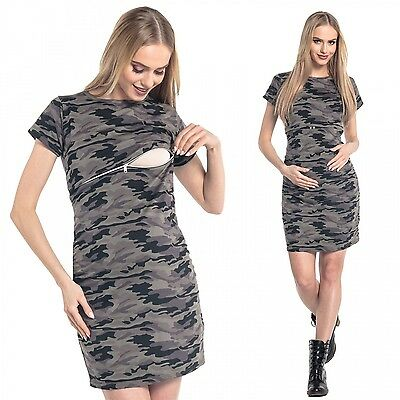 Happy Mama. Women's Nursing Straight Camo Dress Mini Maternity Crew Neck. 179p