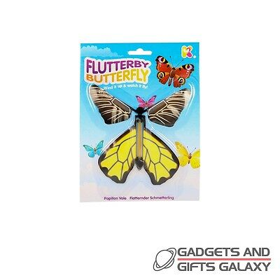 FLUTTERBY BUTTERFLY WIND UP FLUTTERS AWAY! toy gift novelty childs kids favours