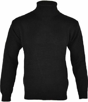 New Mens Black Polo Turtle Neck Knitted Long Sleeve Sweater Jumper