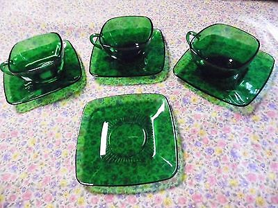 lot of 3 Vintage Anchor Hocking Charm Forest Green Glass Cups Saucers sets