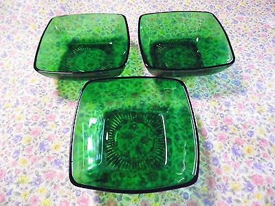 lot of 3 Vintage Anchor Hocking Charm Forest Green Glass Soup/Cereal Bowls 4.5""