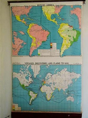 Cram's Pull Down Cloth School Map S. America Voyages Discoveries Claims to 1610