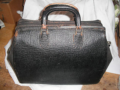 Antique 1910's Black Leather Doctor's Bag WITH KEY!