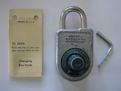 Sargent & Greenleaf Model8088 Combination padlock lock with key and instructions