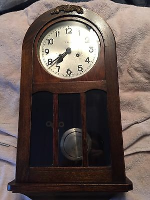 Antique German Fasco Wall Clock With Great Wood Case