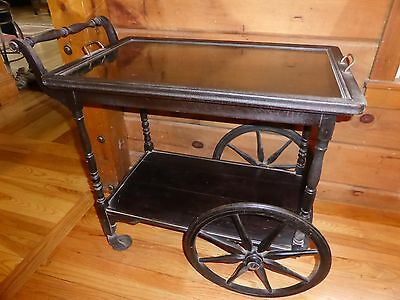 Mahogany Serving Table Tea Cart with Removable Glass Top - early 1900