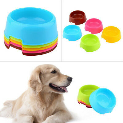Pet Dog Cat Puppy Plastic Food Feeding Water Drinking Bowl Feeder Candy Color