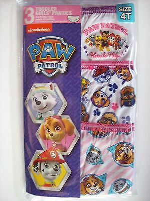 Toddler Girls Paw Patrol Panties 3-Pack Size 4T New In Package