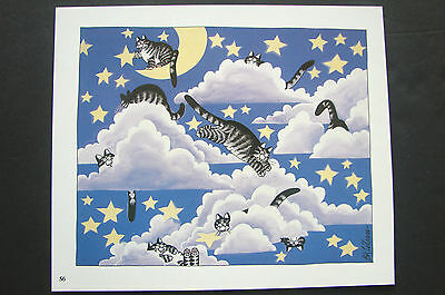 "Color Kliban Cat Cartoon Print - ""playing In The Clouds"" - Kilban"