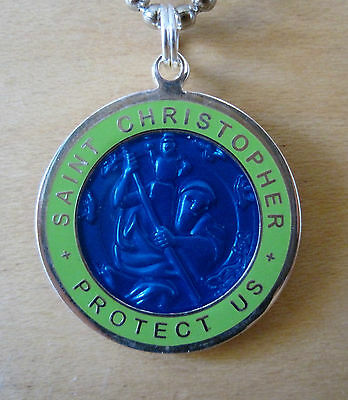 Large Saint Christopher Medal Protector of Travel rb-lm Royal Blue-Lime