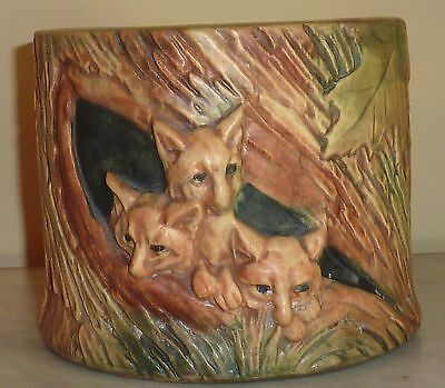 Weller Woodcraft Tree Foxes Planter Vintage Art Pottery Green Red Brown 1920s