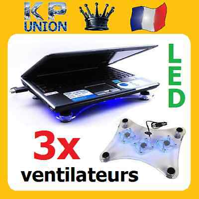 Ventilateur Refroidisseur Ordinateur Pc Portable Laptop 3 Ventilateurs Led Usb