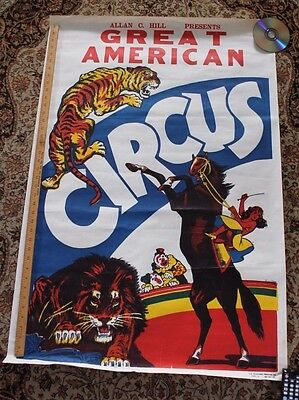 VINTAGE poster Allen Hill Great American Circus lion tiger horse rider 28 x 41