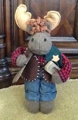 """Moose Standing Decor Dressed in Cabin Clothing Cabin Oars 15.5"""" x 8.5"""" x 4.5"""""""