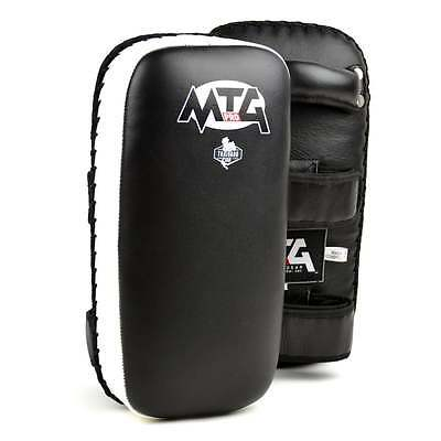 MTG Pro Muay Thai Black-White Leather Thai Pads