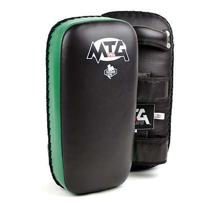 MTG Pro Muay Thai Black-Green Leather Thai Pads