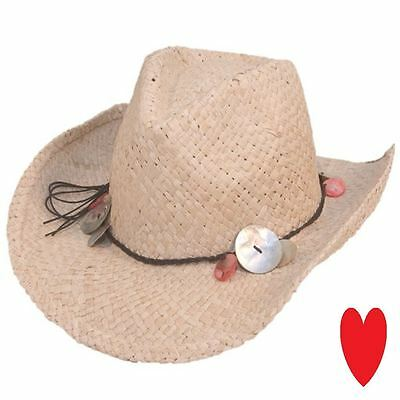 ladies girls cowboy hat sun summer straw wide brim BOXED