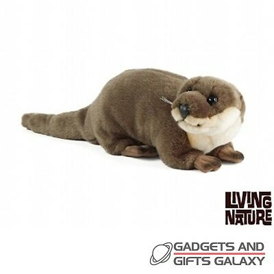 LARGE PLUSH OTTER LYING 40cm LONG & FACTS toy gift teddy novelty childs kids