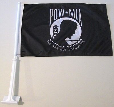 POW MIA Your Are Not Forgotten Double Sided Military CAR FLAG Knit Polyester