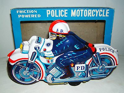 Tintoy, Blechspielzeug, Police Motorcycle, Motorrad, Friktion, Made in Japan OVP