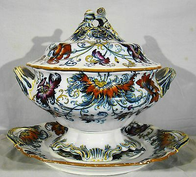 Mason's Type Ironstone 3 Pieces Pandah Pattern Soup Tureen & Stand 19th c