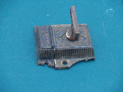 """Antique *** Victorian * Cabinet Latch Set *  Cast Iron,  With Brass """"t"""" Handle"""