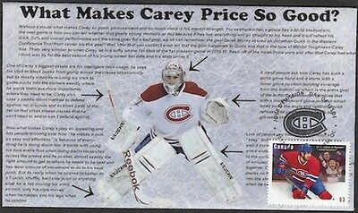CANADA Sc #2671 (#5) MONTREAL CANADIANS CAREY PRICE ON SUPERB FIRST DAY COVER
