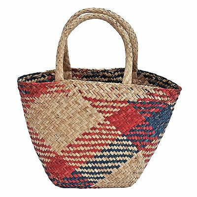 Colourful Seagrass Wicker Shopping Basket - Small