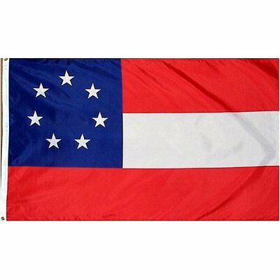 3x5 ft 1st National Stars and Bars 7 Star Confederate Flag 1861 Print Polyester