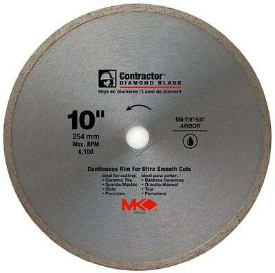 "MK Diamond-10""x5/8"" Contractor Quality Wet Cutting Continuous Rim Diamond Blade"