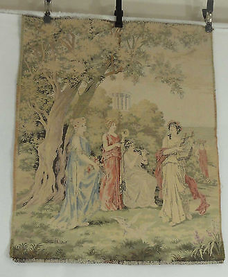 """Antique 1900s French Tapestry After Lionel Peraux Muses Pastoral Signed 25""""x30"""""""