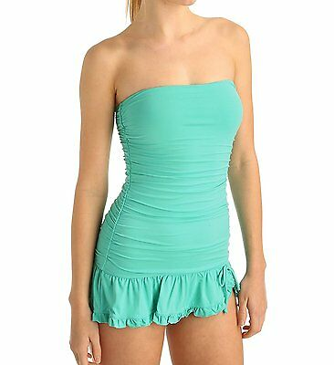 184bd1ac30 9267-1 Coco Rave Womens Teal Green Ruffled Swimdress Swimsuit Small S 32D