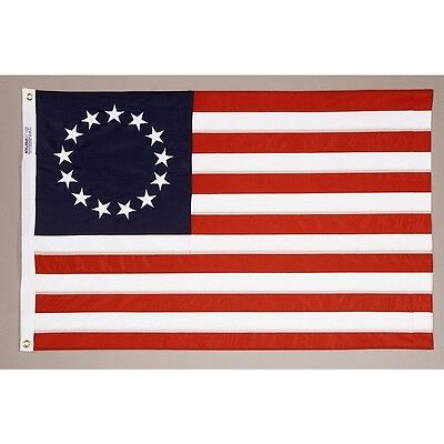 BETSY ROSS 4x6 ft Flag COTTON Sewn 13 Stars & 13 Stripes  Made in USA