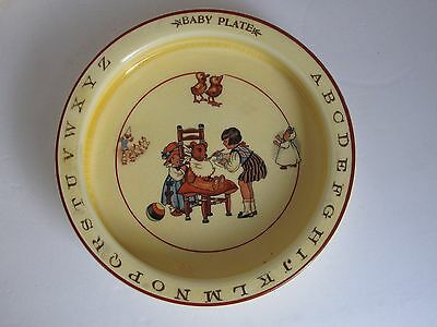Antique Baby Plate Bowl ABC's and Girl Feeding a Teddy Bear