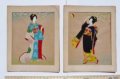 Lot of 2 Geisha Originals SIGNED ANTIQUE SILK PAINTINGS Stamped MADE IN JAPAN