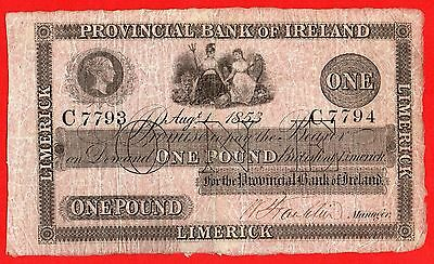 Provincial Bank of Ireland  Limerick  £1 Pound  1-8-1853  Banknote