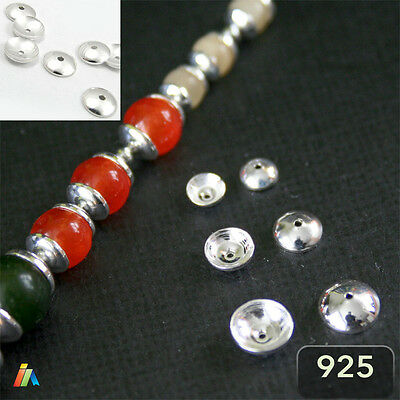 10x 925 STERLING SILVER ROUND SMOOTH BEAD CAPS 3 4 5 6mm Jewelry Findings _218